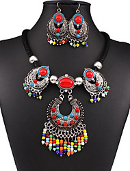 MPL European and American folk style retro beads fringed Diamond Necklace Earrings Set