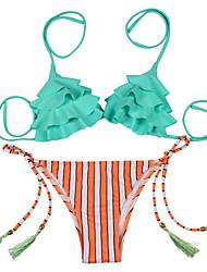 Bikinis Aux femmes Franges / Fleur Sans Armature Bandeau Nylon / Polyester