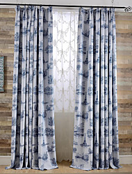 Two Panels Modern Architecture Blue / Coffee Bedroom Polyester Blackout Curtains Drapes