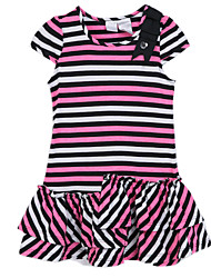 Girl's Pink Dress,Stripes Cotton Summer