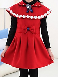Girl's Orange / Red Dress,Bow Cotton Summer / Spring