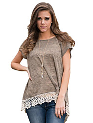 Women's New Arrival Fashion Patchwork Lace All Match Hin Thin Round Neck Short Sleeve T-shirt
