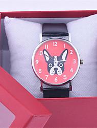 2016 mais recente cão versão cute puppy relógios de moda homens puros pequeno cão casuais e mulheres do relógio da correia de couro
