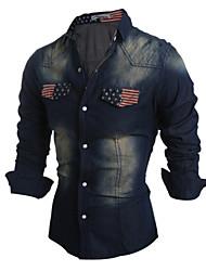 Men's Print Casual / Sport Shirt,Cotton / Polyester Long Sleeve Blue / Gray demin shirts