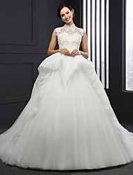 Ball Gown Wedding Dress Chapel Train High Neck Tulle with Appliques