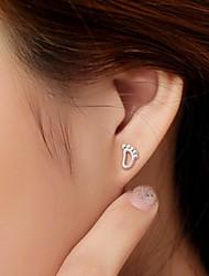 2016 Korean Unisex 925 Silver Sterling Silver Jewelry Zircon Earrings Foot Pads Stud Earrings 1Pair