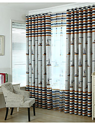 Two Panels Windmill  Blackout Printing Curtain