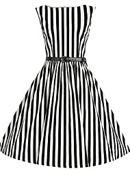 Women's Summer Fashion O Neck Striped High Waist Sleeveless Dress