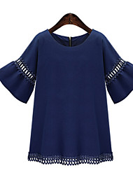 Mulheres Blusa Casual Plus Sizes / Vintage / Simples Todas as Estações,Sólido Azul / Branco Modal / Poliéster Decote Redondo Manga Curta