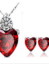 May Polly Garnet red crystal Zircon Earrings Necklace Set