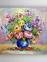 Oil Painting Flowers in the Vase by Knife  Hand Painted Canvas with Stretched Framed