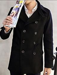 Men's Solid Casual Coat,Cotton Long Sleeve-Black / Blue / Gray