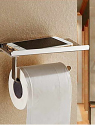 Stainless Steel 304 Bathroom Toilet Paper Phone Holder With Shelf Mobile Phones Towel Rack