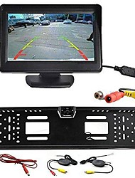 "Wireless Car Rear View Kit 4.3"" TFT LCD Monitor + Rear View Camera Universal EU/European License Plate Frame"