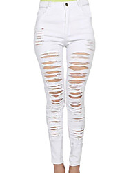 Women's  Denim Destroyed High-waist Skinny Jeans