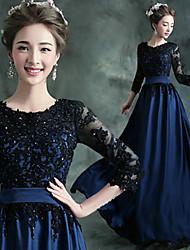 Formal Evening Dress - Ink Blue A-line Jewel Floor-length Chiffon / Satin