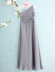 Floor-length Chiffon Junior Bridesmaid Dress Sheath / Column One Shoulder with Side Draping / Ruching
