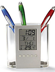 Multi Function Electronic Calendar Clock Transparent Pen Stationery