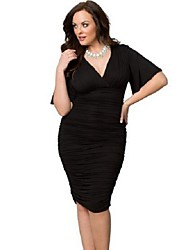 Women's Sexy Party Cocktail Solid Plus Size Loose Ruched Sheath V Neck Knee-length Dress