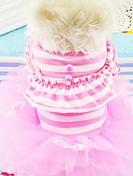 Cães Vestidos Rosa / Púrpura Primavera/Outono Pérola / Riscas Fashion
