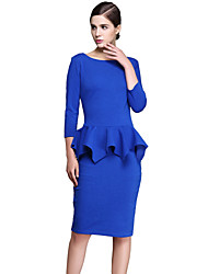 High Quality Women's Vintage Solid Plus Size / Bodycon Elastic Dress , Round Neck Knee-length Cotton / Polyester