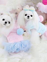 Cães Vestidos Azul / Rosa Roupas para Cães Inverno Da Moda