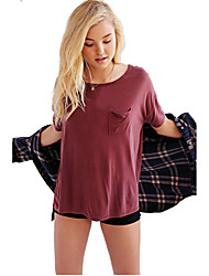 Damen Solide Einfach / Niedlich Lässig/Alltäglich T-shirt,Rundhalsausschnitt Sommer Kurzarm Rot / Weiß / Schwarz / Grün / LilaBaumwolle /