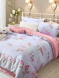 Simple Opulence 100% Cotton Printed Queen Duvet Cover Set with 1 Flat Sheet and 2 Pillowcases
