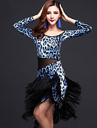 Latin Dance Dresses Women's Performance Milk Fiber Tassel(s) 2 Pieces Zebra / Leopard Print / Multi-color Latin Dance Dress / Shorts