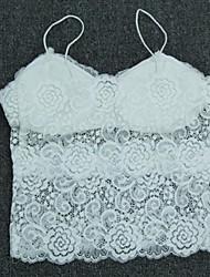 Women's Floral White / Black Tanks,Strap Sleeveless