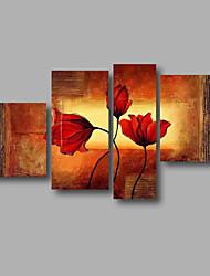 """готовы повесить растянутый ручная роспись масляной живописи 60 """"x36"""" холст стены искусства современные цветы темно-красные маки"""