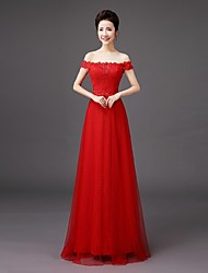 Bridesmaid Dress Floor-length Lace- Sheath / Column Off-the-shoulder with Embroidery / Lace