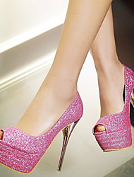 Women's Shoes Glitter / Customized Materials Stiletto Heel Heels / Peep Toe Sandals Wedding / Party &  Red / Silver