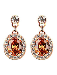 HKTC Champagne Color AAA+ Oval Crystal  CZ Stone Cute Waterdrop Earrings Best For Women