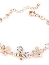 Women's Exquisite Korean Fashion Sweet Flower Shiny Rhinestone Butterfly Imitation Opal Link Chain Bracelet