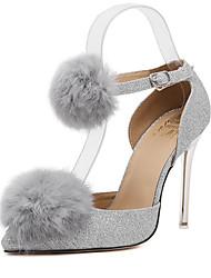 Zapatos de mujer-Tacón Stiletto-Pompón-Tacones-Vestido-Sintético-Negro / Plata