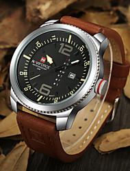 Men NAVIFORCE watch Quartz Waterproof Sports Watch Calendar Genuine Leather Wristwatch(Assorted Color) Wrist Watch Cool Watch Unique Watch