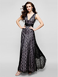 TS Couture Prom Formal Evening Black Tie Gala Dress - Vintage Inspired Sheath / Column V-neck Ankle-length Lace with Lace
