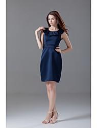 Knee-length Satin Bridesmaid Dress A-line Scoop with Sash / Ribbon
