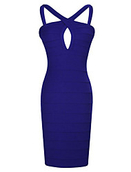 Women's Sexy / Party / Cocktail Solid Bodycon / Little Black Dress , Halter Mini Linen