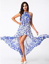 Women's Sexy / Boho Floral Sheath / Chiffon Dress , Halter Maxi Polyester