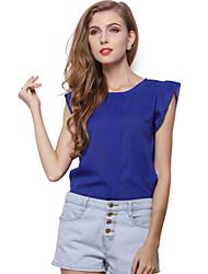 Damen Solide Lässig/Alltäglich T-shirt,Rundhalsausschnitt Sommer Ärmellos Blau / Rot / Grün / Gelb Polyester Dünn