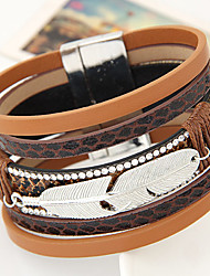 New Fashion Charm Women Leather Rhinestone Feather Leaf Width Bangle Bracelet