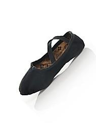 Non Customizable Women's / Men's / Kids' Dance Shoes Belly / Ballet / Dance Sneakers Leather Flat Heel Black