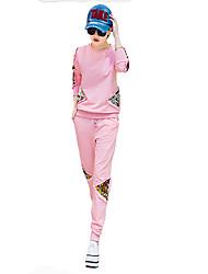Damen Hoodies Sport Retro / Aktiv Druck Rosa / Schwarz Polyester