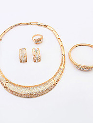 Women's European Fashion Simple Shiny Rhinestone Crescent Necklace Bracelet Earrings Ring Set Bridal Set