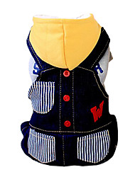 Dog Hoodie / Clothes/Jumpsuit Blue / Black Dog Clothes Winter Stripe / Letter & Number Fashion / Keep Warm