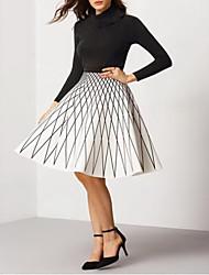 Women's Geometric White Skirts Above Knee