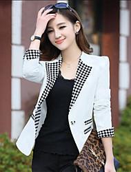 Women's Plaid Blue / Pink / White / Yellow Blazer,Simple Notch Lapel Long Sleeve