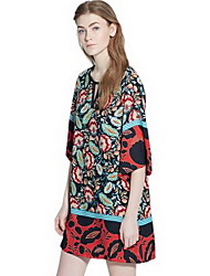 Women's Casual / Day Print Loose Dress , Round Neck Mini Polyester